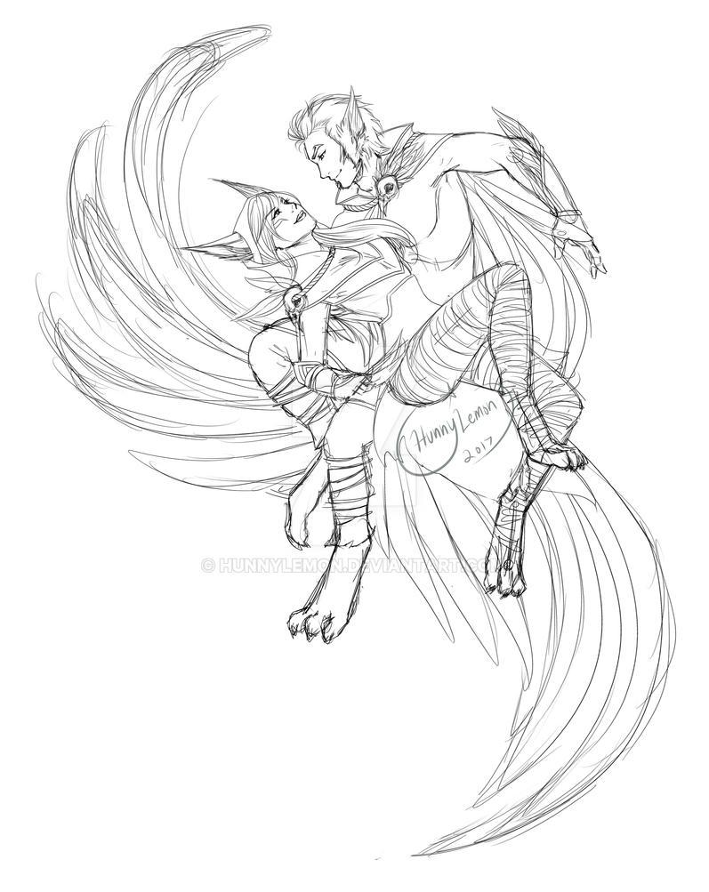 Rakan and Xayah Sketch by HunnyLemon