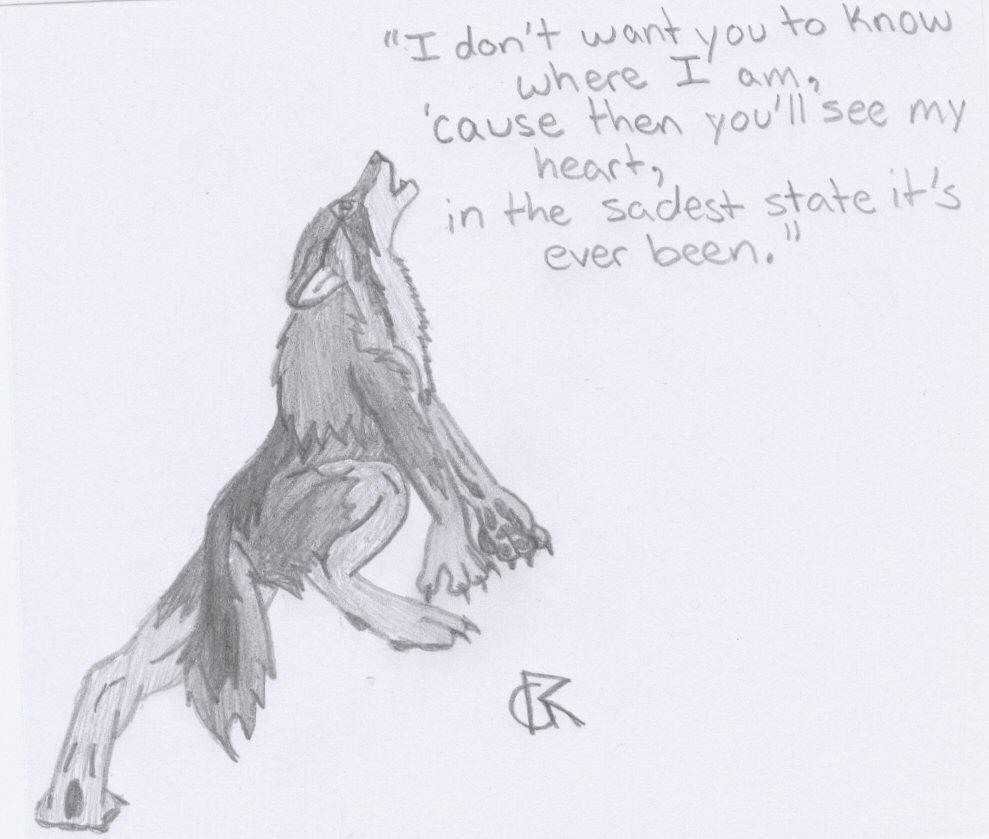 Depressed Wolf Drawing