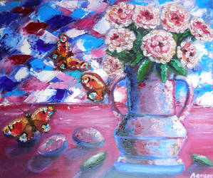 Still life with plums and butterflies