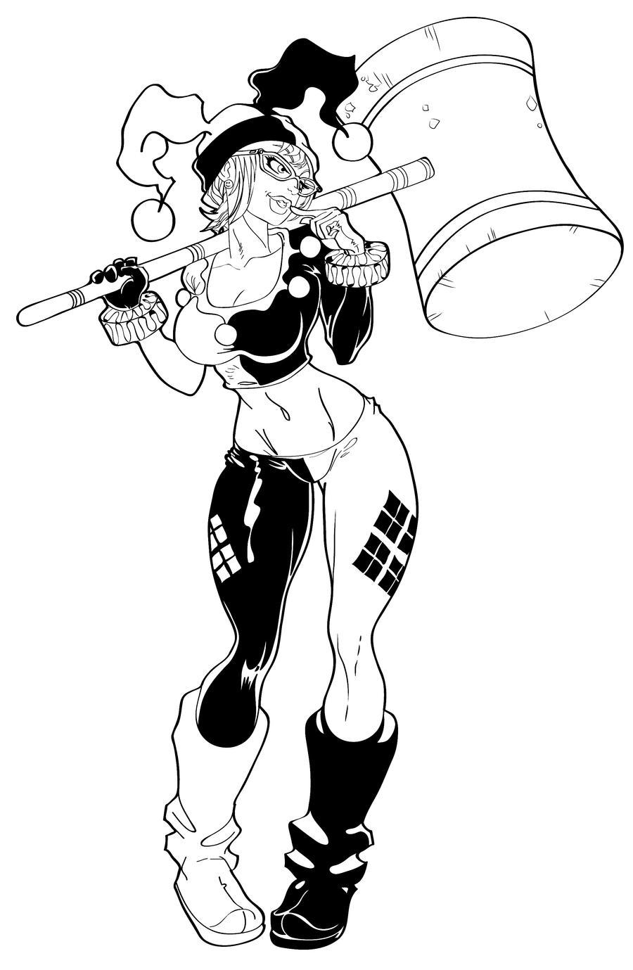 Harley quinn printable coloring pages - Harley Quinn Inks By Tracywong Harley Quinn Inks By Tracywong