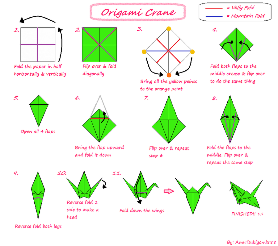Tutorial origami crane by amutsukiyomi888 on deviantart for How to fold a crane step by step