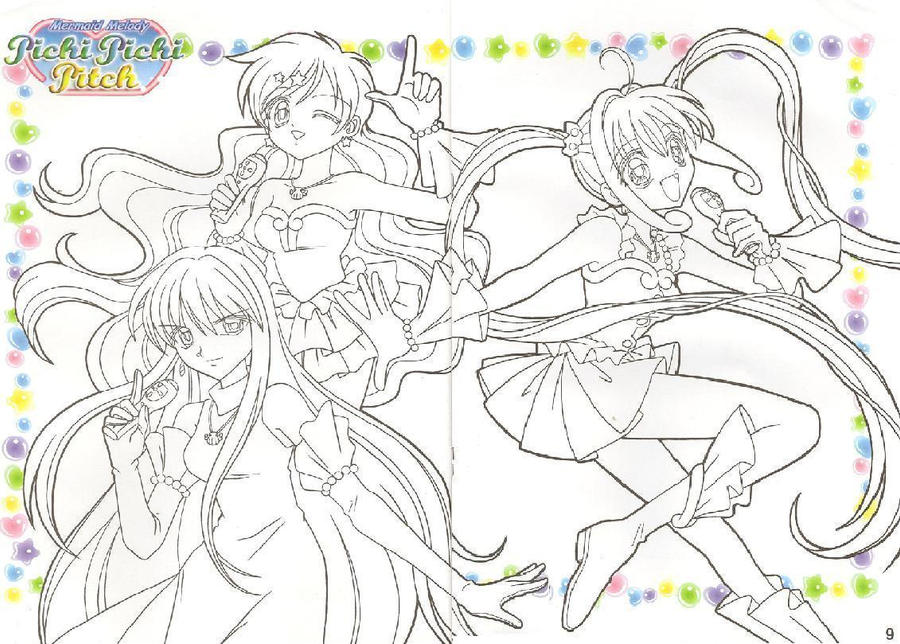 mermaid melody coloring book pages - photo#14
