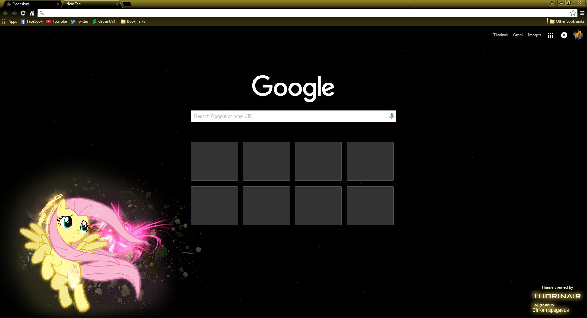Fluttershy Google Chrome Theme by Thorinair