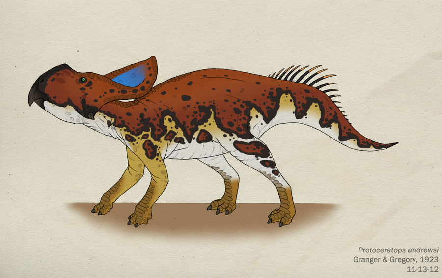 The Dinosaurs of Nathanial Rogers 088__protoceratops_andrewsi_by_green_mamba-d5l19cx