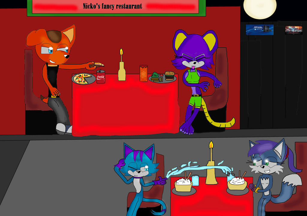 Dog, Mouse, Panther and Fox's double date Pt 2 by DarkCatTheKhajjit