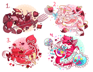 (CLOSED)(Auction) Valentine Dragon Drops by Mewkyz
