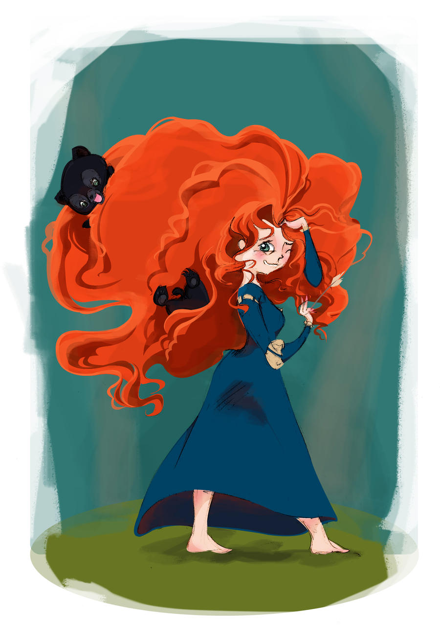 Merida and bear cubs by MadEye01