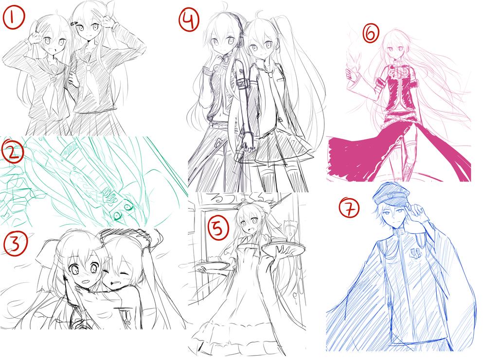 Vocaloid Sketch Dump by yui-22