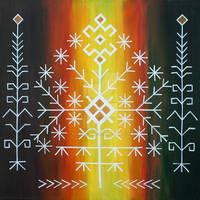 Traditional latvian folk symbols on black and red