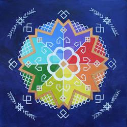 Traditional Baltic folk symbols, colourful circle