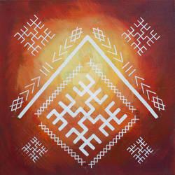 Latvian folk symbols on fiery background