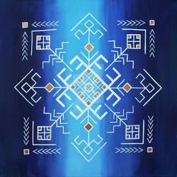 Traditional Baltic folk symbols on blue