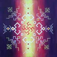 Traditional Latvian folk symbols on violet