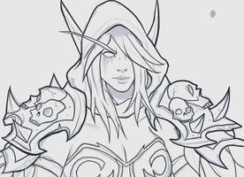 Sylvanas Windrunner, Sketch and Lineart by PsionicRevenant
