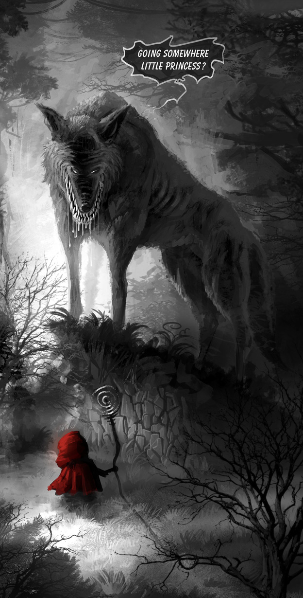 Black werewolf red riding hood