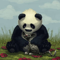 Panda and Cat by OrcOYoyo