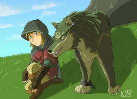 Link And Wolf Link by ChikkiArts