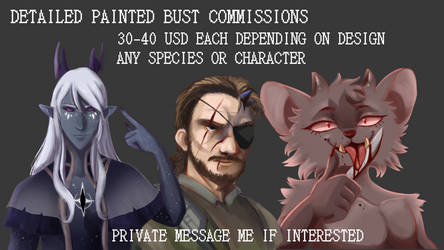 DETAILED PAINTED BUST COMMISSIONS OPEN by ChikkiArts