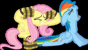 Fluttershy and Rainbow Dash - RAWWWWR by Firestorm-CAN