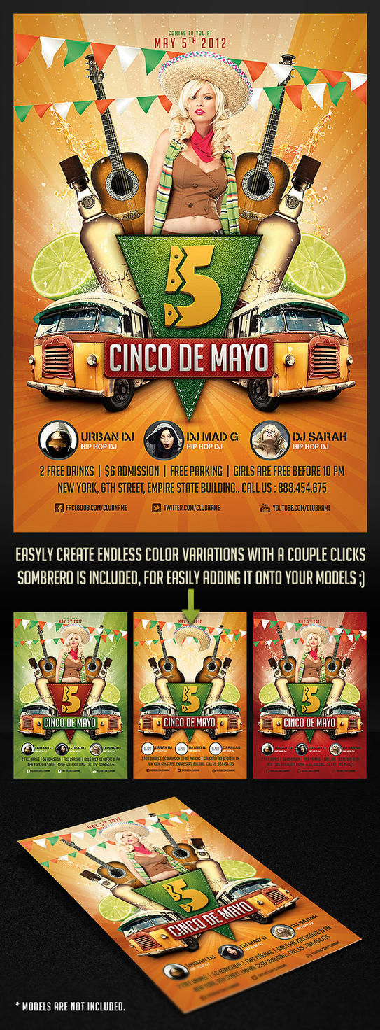 Cinco de Mayo Party Flyer 2 by saltshaker911