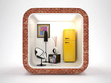 3D interior IOS Icon