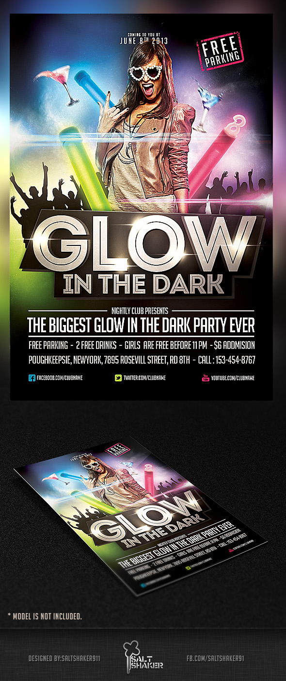 glow in the dark party flyer
