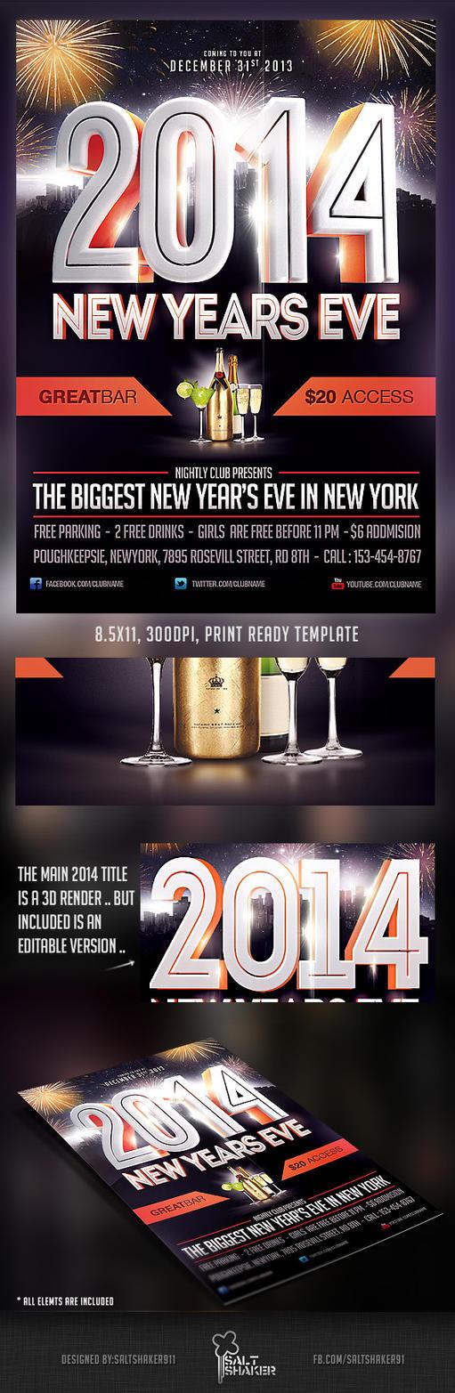 2014 new years eve flyer template by saltshaker911 on deviantart. Black Bedroom Furniture Sets. Home Design Ideas