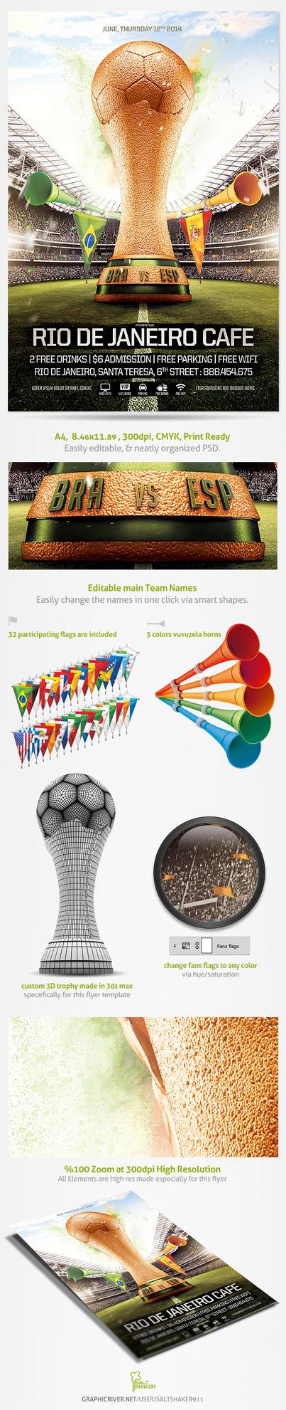 Brazil world Cup Flyer 2014 Template by saltshaker911