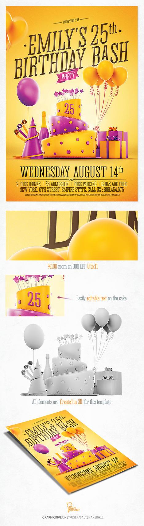 Birthday Party Invitation Flyer by saltshaker911