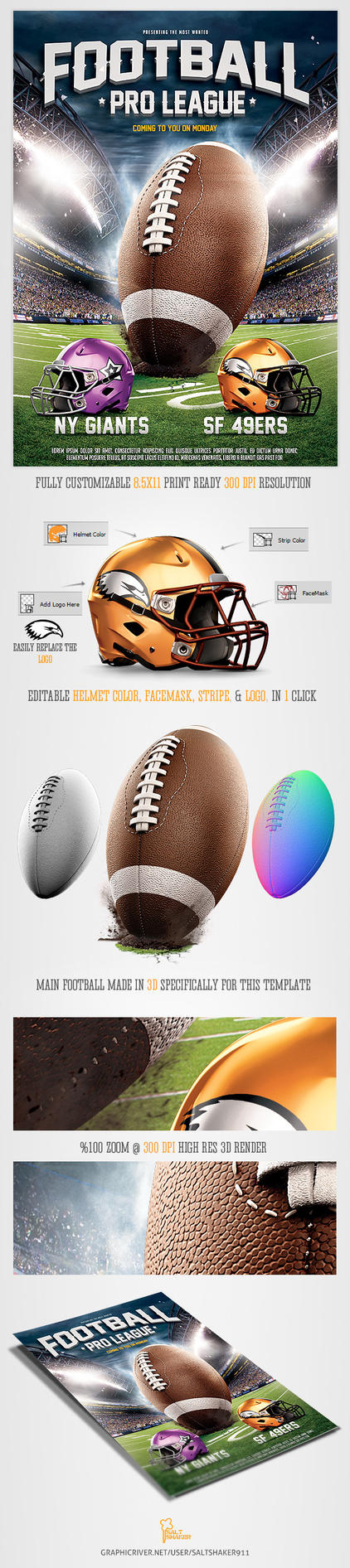 American Football League Flyer Template by saltshaker911