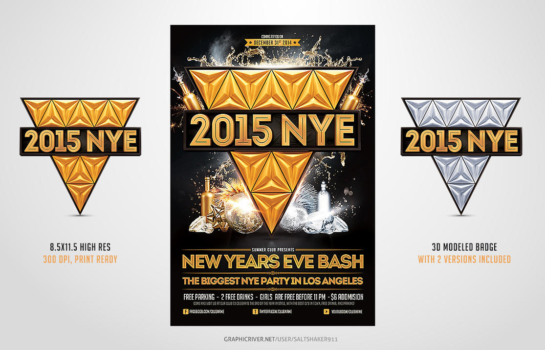 2015 New Years Eve NYE Flyer Template by saltshaker911