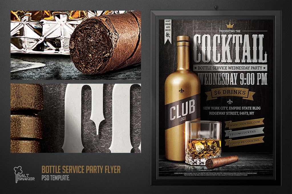 Bottle Service Party Flyer Template by saltshaker911