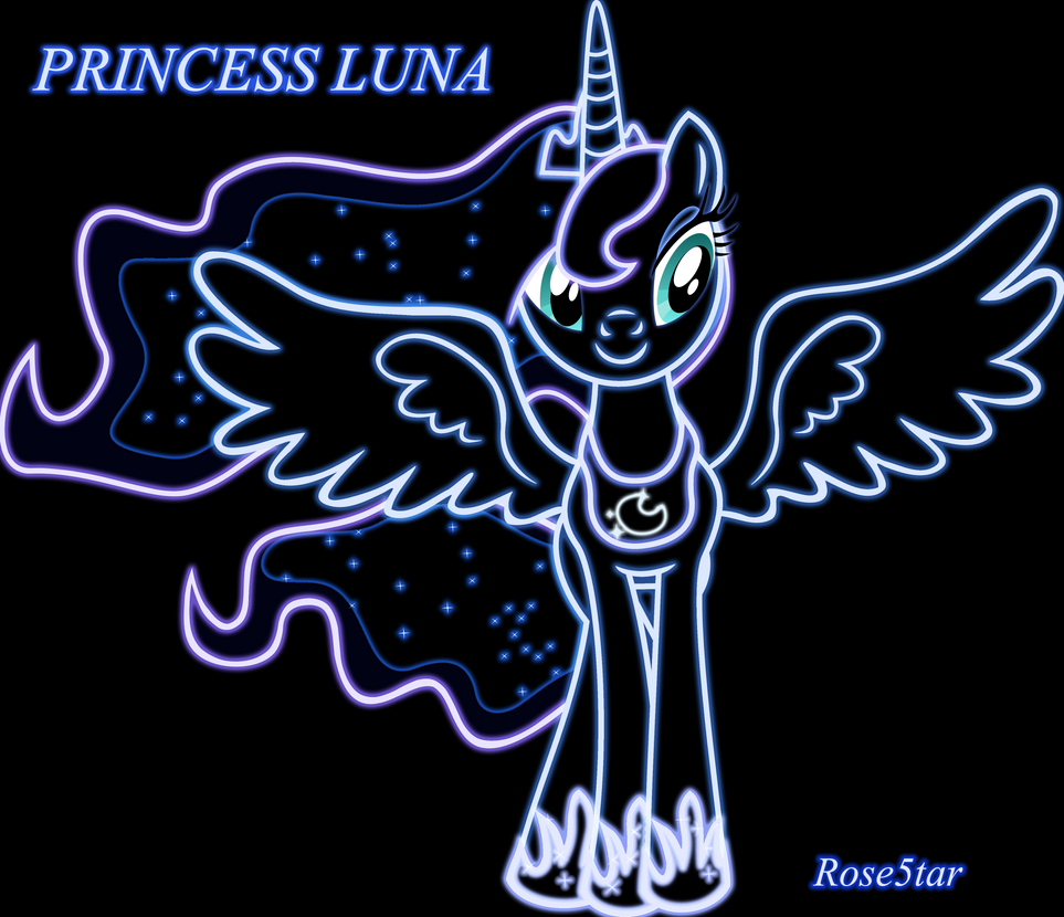 princess luna neon by rose5tar on deviantart