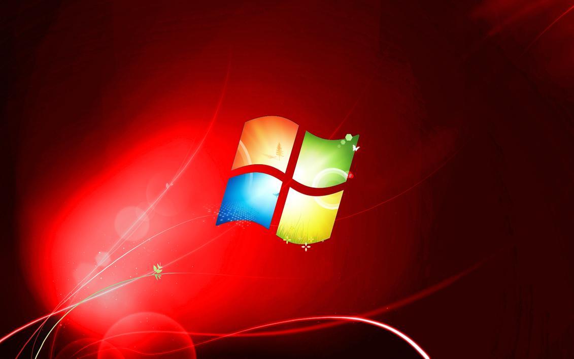Windows 7 RED Wallpaper By DaBestFox