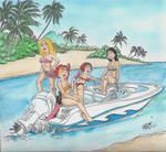 Hot Babes in a Hot Boat by kiff57krocker
