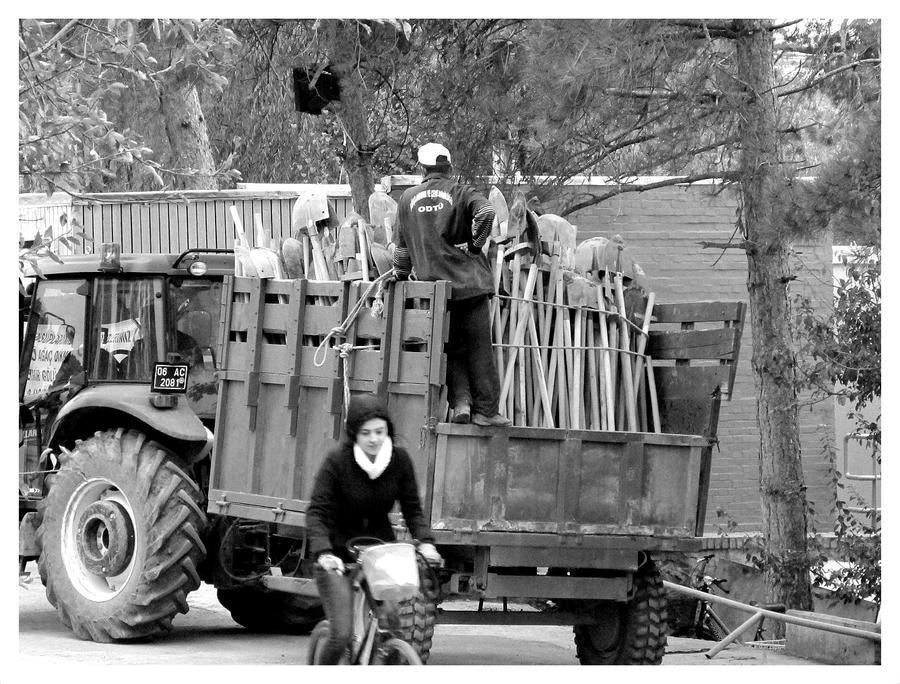 shovels and a bike by ylajalik