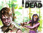 Walking Dead Michonne and Daryl sketch cover