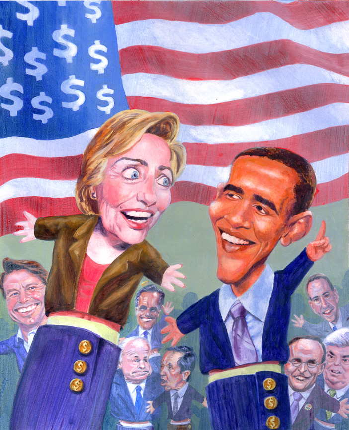 hillary and obama by kenmeyerjr
