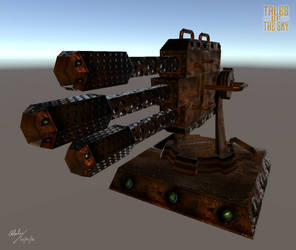 Steampunk Bronze Machine Gun Turret by Gladecleaver