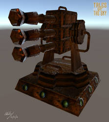 Steampunk Bronze Flak Cannon Turret by Gladecleaver
