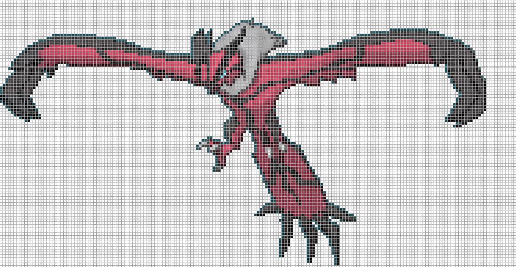 Yveltal pixel art template minecraft