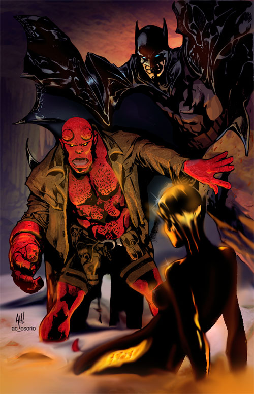 Hellboy and the Batman by AH by acosorio