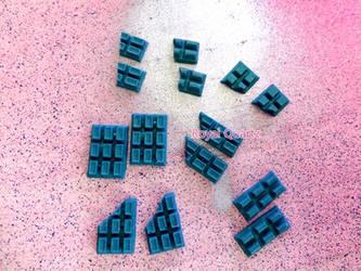 Chocolate Bars - Teal/Medium Blue by royalquartz