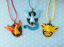 Pokemon Legendary Birds Necklaces by LittleBreeze