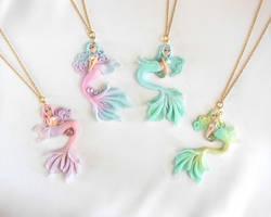 Pastel Mermaid Necklaces by LittleBreeze
