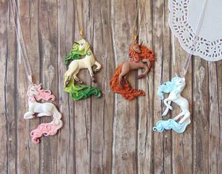 The Four Seasons Unicorn Pendants by LittleBreeze
