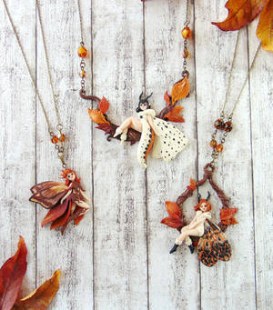 Fall Moth Fairy Necklace Collection