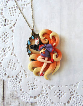 Kitsune Lady Cameo Necklace