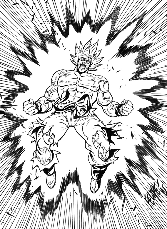 Inktober Day 1: Goku going Super Saiyan by FelipeSmith