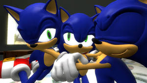Triple Sonic hugging